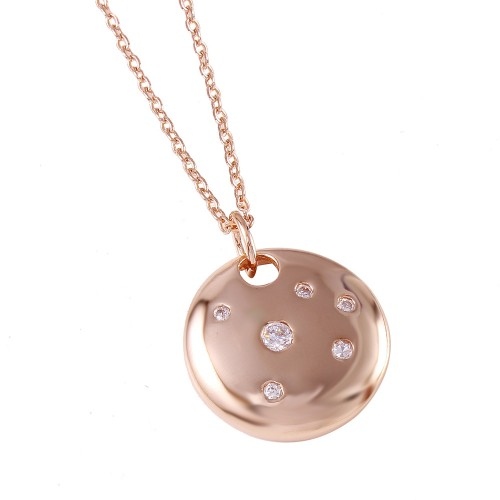 -Closeout- Wholesale Sterling Silver 925 Rose Gold Plated Round Shield Pendant Necklace - STP00434RGP