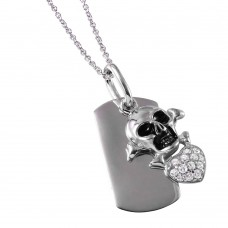 **Closeout** Skull Heart Tag Necklace - STP00745