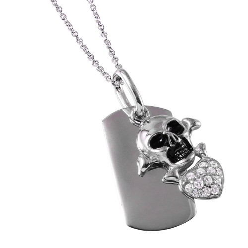 **Closeout** Wholesale Sterling Silver 925 Rhodium Plated Skull Heart Tag Necklace - STP00745