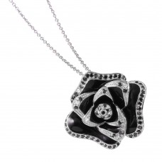 -Closeout- Wholesale Black and White Rose Necklace with Black and Clear CZ - STP00814