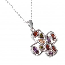 -Closeout- Wholesale Sterling Silver 925 Multi Color CZ Cross Necklace - STP01346