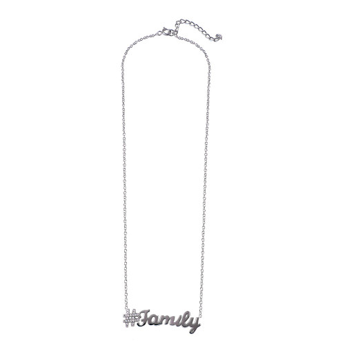 Wholesale Sterling Silver 925 Rhodium Plated Hashtag Family Necklace - STP01452