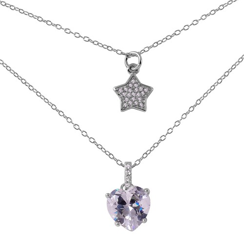 Wholesale Sterling Silver 925 Rhodium Plated Star Heart CZ Necklace - STP01455