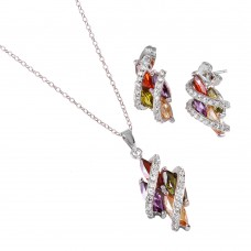 Wholesale Sterling Silver 925 Rhodium Plated Multicolor Marquise Variety Set - STS00130