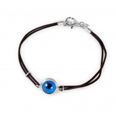 Sterling Silver Round Evil Eye Leather Strap Bracelet - BGB00144