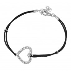 Sterling Silver CZ Open Heart Leather Strap Bracelet BGB00153