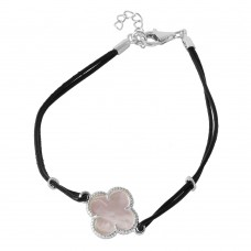 Wholesale Sterling Silver 925 Mother of Pearl Clover on Leather Strap Bracelet - BGB00154