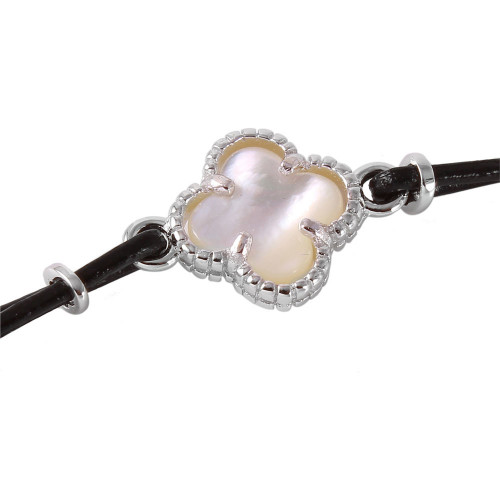 Wholesale Sterling Silver 925 Small Mother of Pearl Clover  on Leather Strap Bracelet - BGB00155