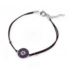 Wholesale Sterling Silver 925 Blue CZ Evil Eye Leather Strap Bracelet - BGB00160