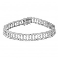 Wholesale Sterling Silver 925 Small CZ Hearts Bracelet - BGB00163
