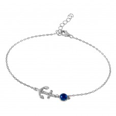 Wholesale Sterling Silver 925 Evil Eye Anchor Bracelet with CZ Accents - BGB00242