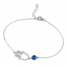 Wholesale Sterling Silver 925 Rhodium Plated Evil Eye Hamsa Bracelet with CZ Accents - BGB00243