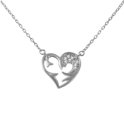 Wholesale Sterling Silver 925 Rhodium Plated Chain and CZ Open Heart Pendant with CZ - BGP01027