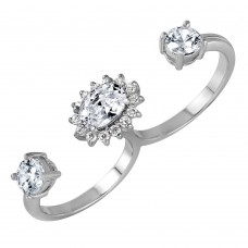 Sterling Silver Clear CZ Cluster 2 Finger Open Ring - BGR00968