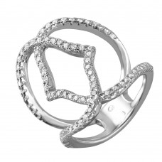 Sterling Silver Bracket Wire Ring with CZ Accents - BGR00977