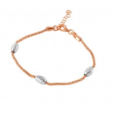 Wholesale Sterling Silver 925 Rose Gold Plated Pop Corn Chain Italian Bracelet with Oval Bead Accents - ECB00019BR