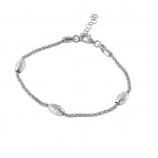 Wholesale Sterling Silver 925 Rhodium Plated Pop Corn Chain Italian Bracelet with Oval Bead Accents - ECB00019RH