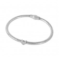 Wholesale Sterling Silver 925 Rhodium Plated Heart CZ Italian Bracelet - ECB00085RH