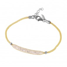 **Closeout** Wholesale Sterling Silver 925 Gold Plated Mesh CZ Center Italian Bracelet - ITB00041GP