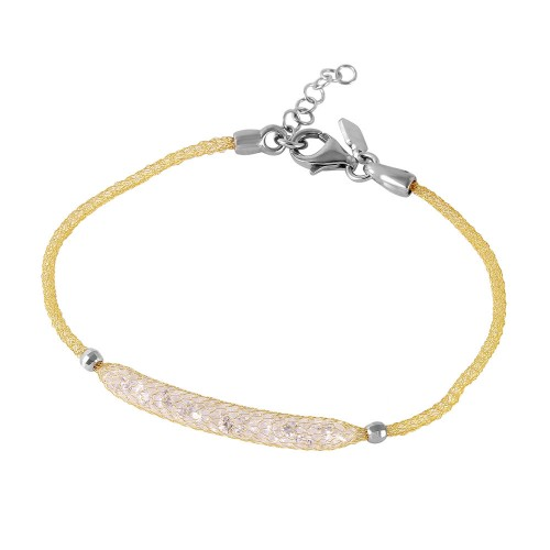 -Closeout- Wholesale Sterling Silver 925 Gold Plated Mesh CZ Center Italian Bracelet - ITB00041GP