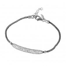 **Closeout** Wholesale Sterling Silver 925 Black Rhodium Plated Mesh CZ Center Italian Bracelet - ITB00041BLK
