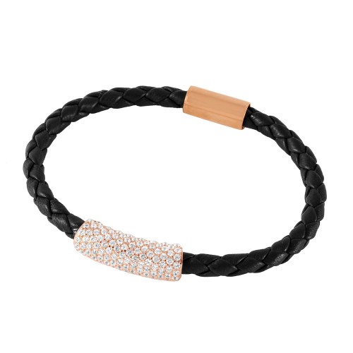 Wholesale Sterling SIlver 925 Rose Gold Plated CZ Bar Italian Leather Bracelet - ITB00142RGP/BRN