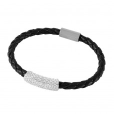 **Closeout** Wholesale Sterling SIlver 925 Rhodium Plated CZ Bar Italian Leather Bracelet - ITB00142RH/BLK