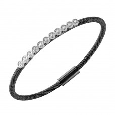 **Closeout** Wholesale Sterling Silver 925 Black Rhodium Plated CZ Small Row Italian Bracelet - ITB00167BLK