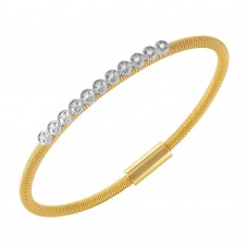 **Closeout** Wholesale Sterling Silver 925 Gold Plated CZ Small Row Italian Bracelet - ITB00167GP