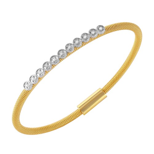 -Closeout- Wholesale Sterling Silver 925 Gold Plated CZ Small Row Italian Bracelet - ITB00167GP
