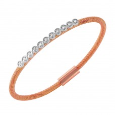 **Closeout** Wholesale Sterling Silver 925 Rose Gold Plated CZ Small Row Italian Bracelet - ITB00167RGP