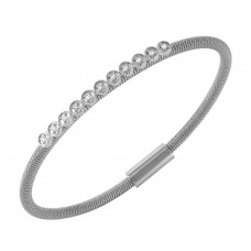**Closeout** Wholesale Sterling Silver 925 Rhodium Plated CZ Small Row Italian Bracelet - ITB00167RH