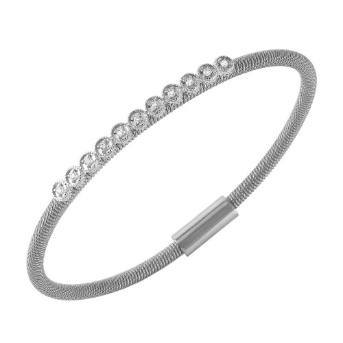 -Closeout- Wholesale Sterling Silver 925 Rhodium Plated CZ Small Row Italian Bracelet - ITB00167RH