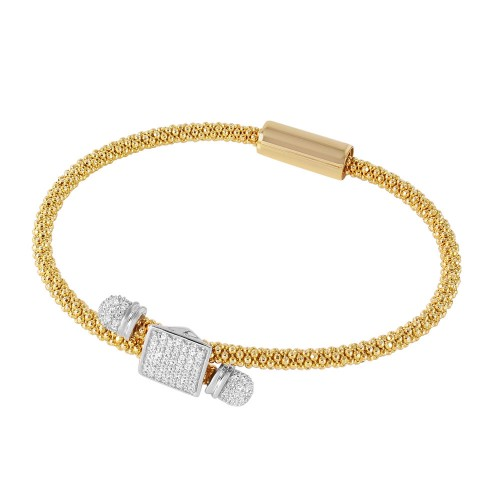 **Closeout** Wholesale Sterling Silver 925 Rhodium and Gold Plated Square Micro Pave Clear CZ Beaded Italian Bracelet - ITB00169GP