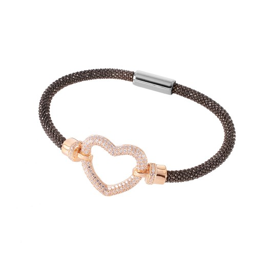-Closeout- Wholesale Sterling Silver 925 Black Rhodium and Rose Gold Plated Open Heart  Bracelet - ITB00181RGP/RH