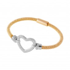 **Closeout** Wholesale Sterling Silver 925 Gold Plated Open Heart  Bracelet - ITB00181GP/RH