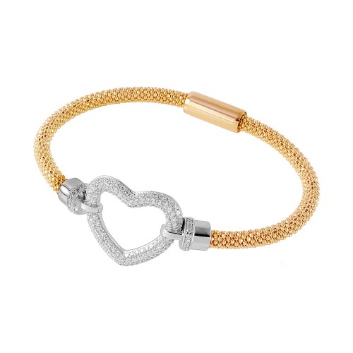 -Closeout- Wholesale Sterling Silver 925 Gold Plated Open Heart  Bracelet - ITB00181GP/RH
