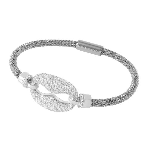 -Closeout- Wholesale Sterling Silver 925 Rhodium Plated CZ Link Italian Bracelet - ITB00186RH