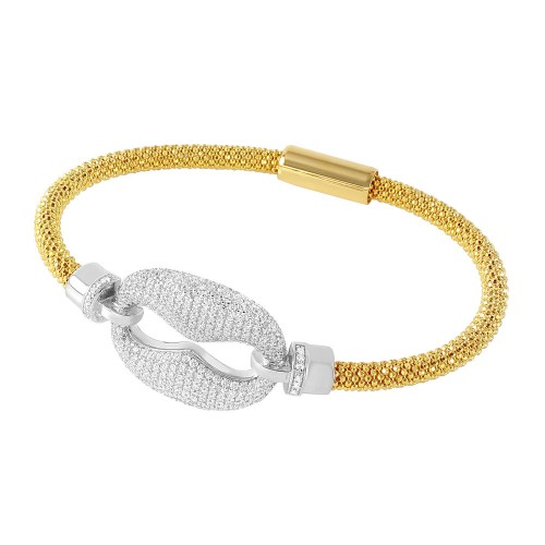 -Closeout- Wholesale Sterling Silver 925 Rhodium and Gold Plated CZ Link Italian Bracelet - ITB00186GP/RH