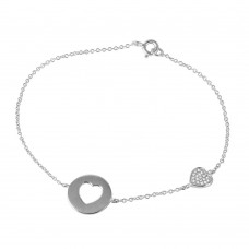 Wholesale Sterling Silver 925 CZ Heart Cutout Bracelet - STB00497