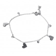 Wholesale Sterling Silver 925 CZ Small Hearts Bracelet - STB00517