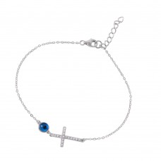 Wholesale Sterling Silver 925 Rhodium Plated Clear CZ Cross with Evil Eye Bracelet - BGB00244