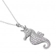 Sterling Silver Rhodium Plated Clear CZ Seahorse Pendant Necklace - BGP01025