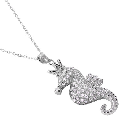 Wholesale Sterling Silver 925 Rhodium Plated Clear CZ Seahorse Pendant Necklace - BGP01025