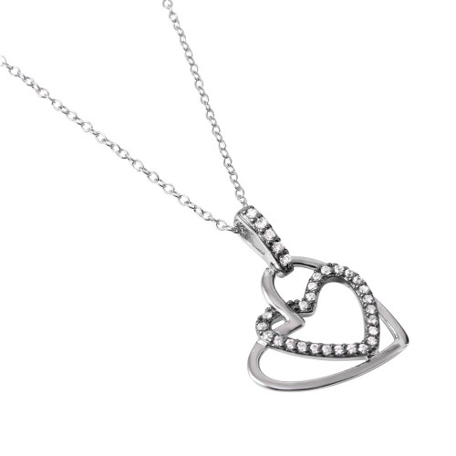 Wholesale Sterling Silver 925 Rhodium Plated Clear CZ Dual Open Hearts Pendant Necklace - BGP01030