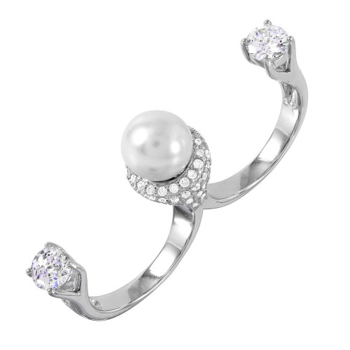 Wholesale Sterling Silver 925 Rhodium Plated Pearl Two Finger Open Ring with CZ Accents - BGR00980