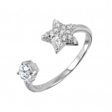 Wholesale Sterling Silver 925 Rhodium Plated CZ Star Open Ring - BGR00988