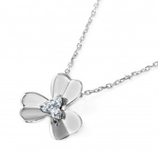Wholesale Sterling Silver 925 3 Petal Flower with CZ Center Pendant Necklace - BGP00577