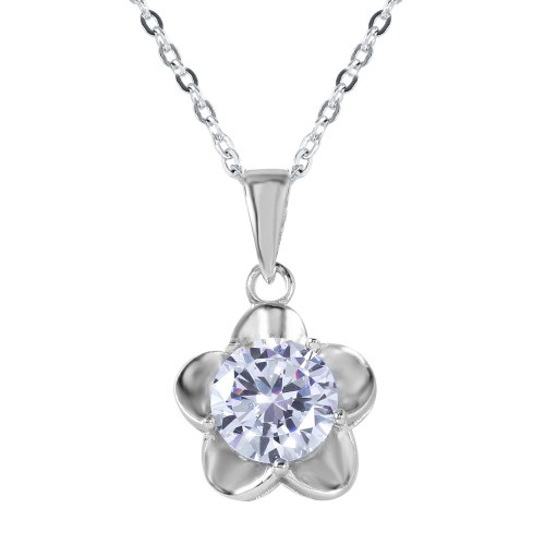 Wholesale Sterling Silver 925 Small 5 Petal Flower With Large CZ Center Pendant Necklace - BGP00609