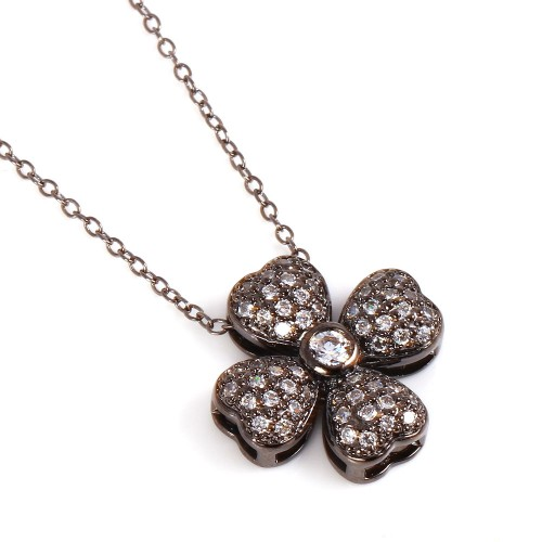 Wholesale Sterling Silver 925 Black Rhodium Plated 4 Petal Flower with CZ Accents Pendant Necklace - BGP00712